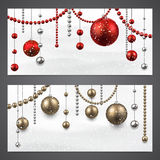 Banners with christmas baubles. Stock Photo