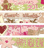 Banners with Christmas cookies. Four horizontal Banners with Christmas cookies Royalty Free Stock Photo