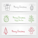 Banners with christmas doodles Royalty Free Stock Photo
