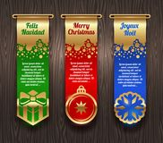 Banners with Christmas greetings and signs stock illustration