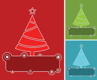 Banners with christmas trees in three colors. Royalty Free Stock Images