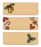 Banners for Christmas. Christmas vector horizontal banners set, vintage drawings style on realistic parchment brown paper background Stock Photography