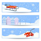 Banners with Christmas winter Stock Photos