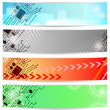 Banners with circuit board Stock Image
