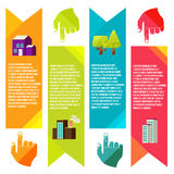 Banners with city, City of info graphics Stock Images