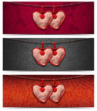 Banners with Cloth Hearts - 3 Items Stock Images
