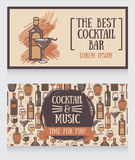 Banners for cocktail bar. Can be used as template for party invitation, vector illustration Stock Photography