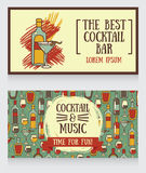 Banners for cocktail bar. Can be used as template for party invitation, vector illustration Royalty Free Stock Images
