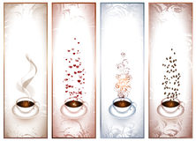 Banners with coffee cups. Set of four banners with coffee cups Royalty Free Stock Image