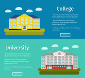 Banners of college and university buildings. Two banners of college and university buildings with text. Flat design. Colorful background. Vector illustration Royalty Free Stock Photos