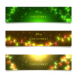 Banners with colored garlands and lights, Royalty Free Stock Photo