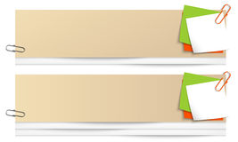 Banners with colored notes and paper clip Royalty Free Stock Photos