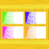 Banners of Colored Splashes Paint. On Wooden Table Royalty Free Stock Photo