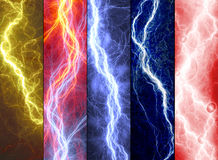 Banners with colorful abstract lightnings Stock Images
