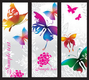 Banners with colorful butterflies. Vertical banners with colorful butterflies Stock Photo