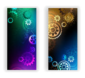 Banners with colorful gears Royalty Free Stock Image