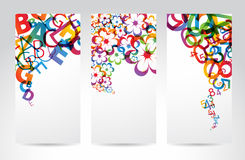 Banners with colorful rainbow elements. Vertical Banners with colorful rainbow numbers, letters, flowers Stock Images