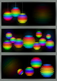 Banners with colorful transparent spheres Royalty Free Stock Photography