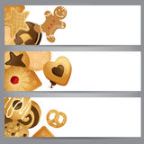 3 banners with cookies. 3 horizontal banners with cookies Royalty Free Stock Photo