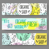 Banners with cosmetic bottles. Organic cosmetics illustration. Doodle skin care items. Herbal hand drawn set. Spa elements in sketchy style. Bio cream. Women Stock Images