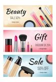 Banners of cosmetics. Design template of horizontal banners with illustrations of women cosmetics stock illustration