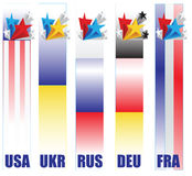 Banners countries taking part in resolving the conflict in Ukrai Royalty Free Stock Photos