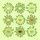 Banners with cups of tea and leaves Royalty Free Stock Images