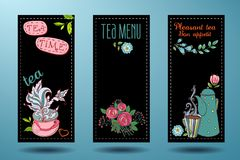 Banners with cups, teapots and tea, tea card Stock Photo