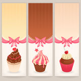 Banners with cute cakes Royalty Free Stock Photo