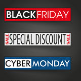3 banners Cyber Monday Black Friday. 3 banners with text cyber monday and black friday on the dark background Stock Photography