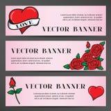 Banners in de oude schoolstijl voor het Huwelijk stock illustratie