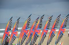 Banners at Kite Festival in Lincoln City, Oregon. These are banners decorating the sandy beach at Lincoln City, Oregon during a summer kite festival Royalty Free Stock Photography