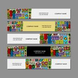Banners design, ethnic floral ornament Royalty Free Stock Images