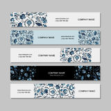 Banners design, russian gzhel ornament Royalty Free Stock Photo