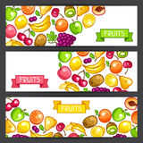 Banners design with stylized fresh ripe fruits Stock Photography