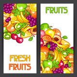 Banners design with stylized fresh ripe fruits Royalty Free Stock Image