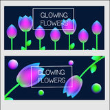 Banners design template. Vector banners with neon glowing holographic flowers.  Royalty Free Stock Photos