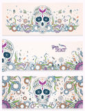 Banners of Dia de Muertos sugar skull with ornate on an abstract floral ornamental spring background. Day of The Dead. Banners of Dia de Muertos traditional Stock Photos
