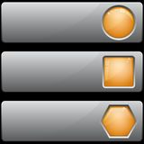 Banners with different buttons. Gray banners with empty buttons different forms Stock Image