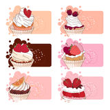 Banners with different desserts with fruits. Stock Photos