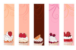 Banners with different desserts with fruits. For your design, announcements, posters, restaurant menu Stock Images