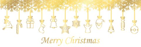 Banners from different golden hanging Christmas symbol icons, Merry Christmas, Happy New Year - vector. Banners from different golden hanging Christmas symbol vector illustration
