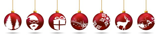Banners from different red Christmas balls. Christmas symbol icons hanging, Merry Christmas, Happy New Year – for stock. Banners from different red vector illustration