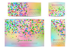 Banners of different sizes with confetti Stock Images