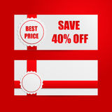 Banners with discount paper badges on red background with red te Stock Photos