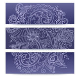 Banners with doddle pattern Royalty Free Stock Image