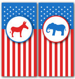 Banners with Donkey and Elephant as a Symbols Vote of USA. United States Political Parties Royalty Free Stock Image
