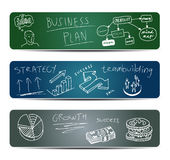 Banners with Doodles. Three Blackboard Banners With Business Doodles Royalty Free Stock Photography
