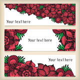 Banners with doodling flowers like roses in tattoo Royalty Free Stock Photography