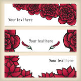 Banners with doodling flowers like roses in tattoo Stock Photos